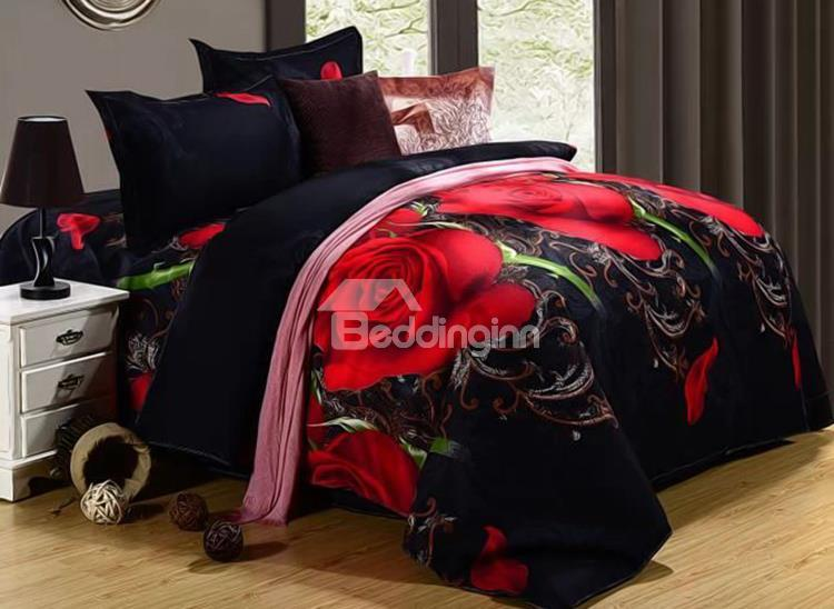 Fablous Red Rose And Tangled Vine Print 4-Piece Polyester Duvet Cover Sets