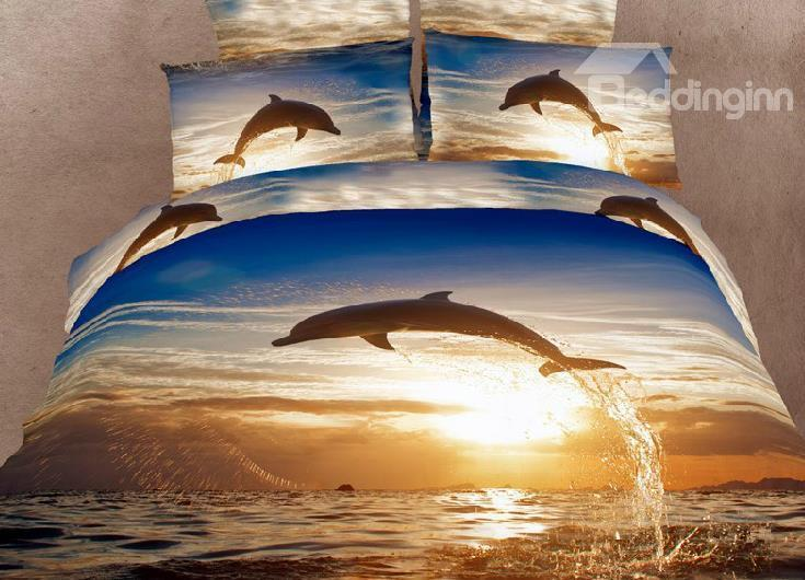 High Quality 100%Cotton Dolphins Reactive Printing 4 Piece Bedding Sets