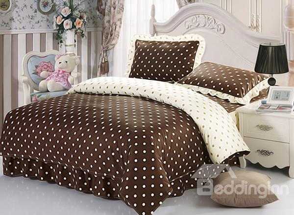 Comfortable White Polka Dot With Chokolate Background Cotton Duvet Cover Sets
