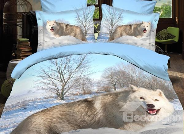 Arctic Fox Of Snow Print Polyester 3d Bedding Sets