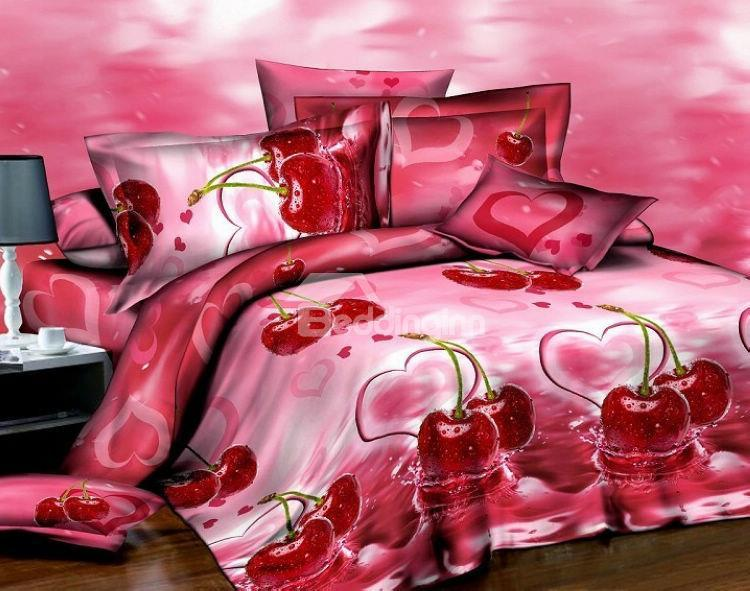 New Arrival High Quality Marvellous Fresh Cherry 3d Print 4 Piece Polyester Bedding Sets