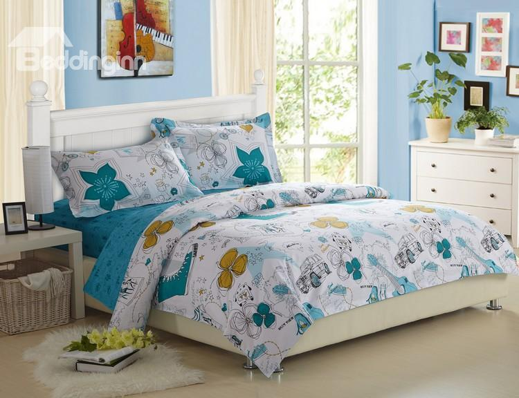 Fashionable Scrawl Print 100%Cotton 4 Piece Fitted Sheet Bedding Sets