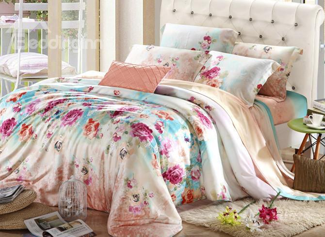 High Quality Amazing Rose-Carmine Flowers 4 Pieces Tencel Bedding Sets