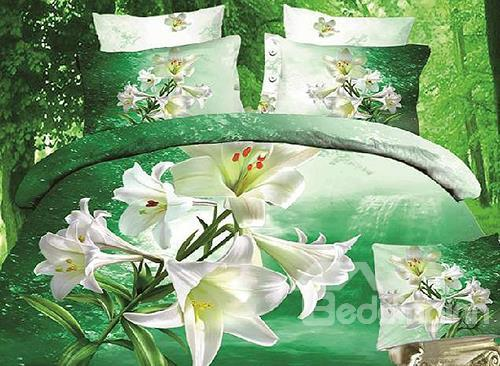 New Arrival High Quality 100%Cotton Thriving Blooming Lily Reactive Print 4 Piece Bedding Sets