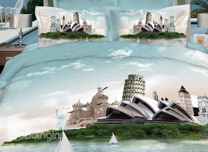 Retro Fashion Sydney Opera House Leaning Tower Famous Building Print 3d 4 Piece Dvet Cover/Bedding Sets