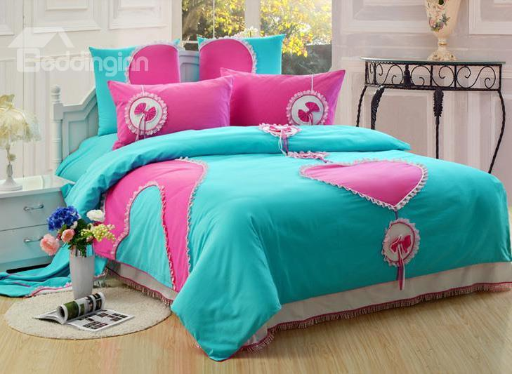 New Style Attractive Heart Cotton 6-Piece Bedding Sets