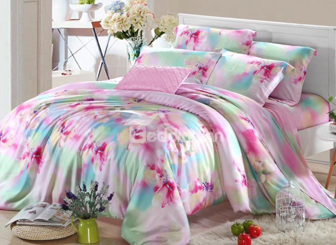 High Quality Comfortable Luxurious Floral 4 Pieces Tencel Bedding Sets