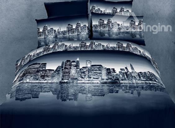 100%Cotton Night City Scene Duvet Cover 4 Piece Bedding Sets 10529176)