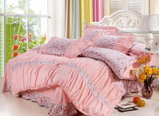 New Arrival Bohemian Floral With Lace 4 Piece Bedding Sets