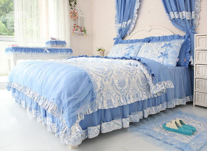 Beautiful Blue Flower Pattern 4-Piece Princess Duvet Cover Sets
