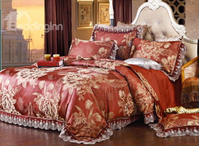 Skincare Peony Print Lace Edge 4-Piece Duvet Cover Sets