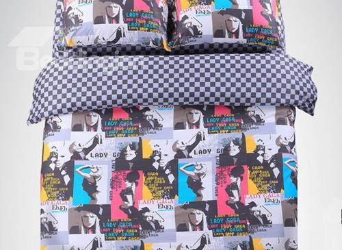 New Arrivals Lady Gaga Fashion Style 100%Cotton Printing 4 Pieces Bedding Sets