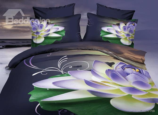 Splendid Purple Water Lily Print 4-Piece Polyester 3d Duvet Cover Sets