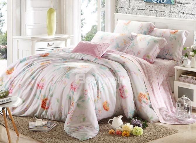 High Quality Alluring Floral Print 4 Pieces Tencel Bedding Sets