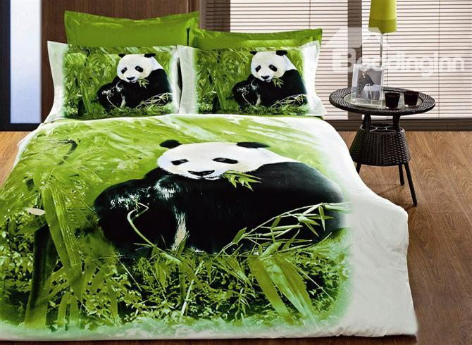 Visual Panda Eating Bamboo Printing Cotton 4 Piece Bedding Sets 10489898)