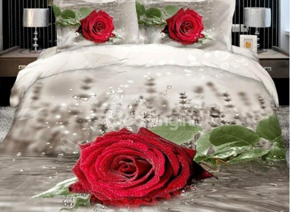 Antique Realistic Red Rose Print 4 Piece Duvet Cover Sets