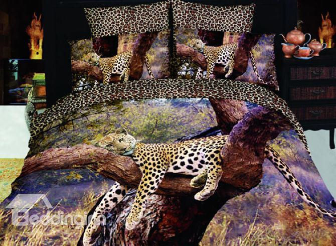 4 Piece Sleeping Leopard Print Bedding Full Queen Size 10489861)