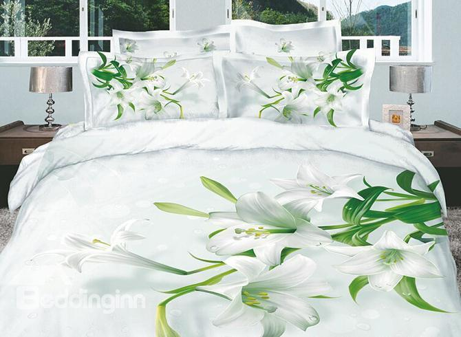 Dignified White Lilies Active Printed 4 Piece Cotton Duvet Cover Sets 10486343)