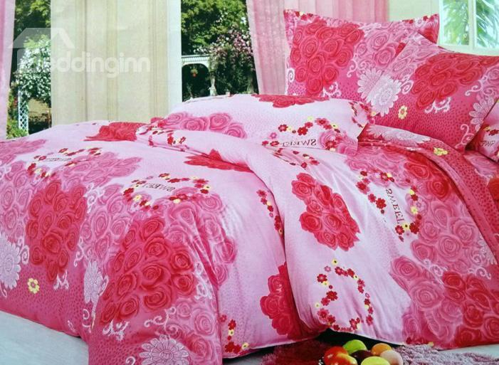 Romantic Total Pink Rose Print 4-Piece Cotton Wedding Duvet Cover Sets