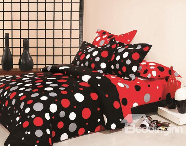 Stylish Red And White Dot 100%Cotton 4 Piece Bedding Set 10489374)