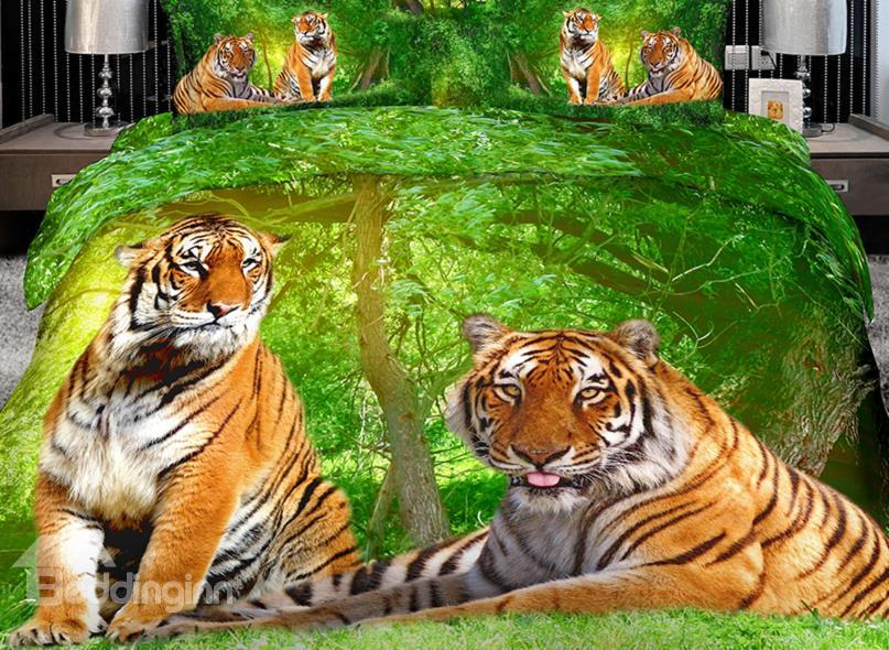 High Quality Lifelike Ferocious Tiger 4 Pieces Polyester 3d Bedding Sets