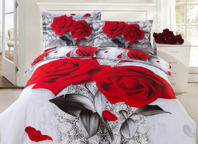 Two Red Roses Print 4 Piece 3d Duvet Cover Sets