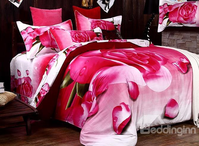 Very Beautiful Pink Roses Print 4-Piece Duvet Cover Sets