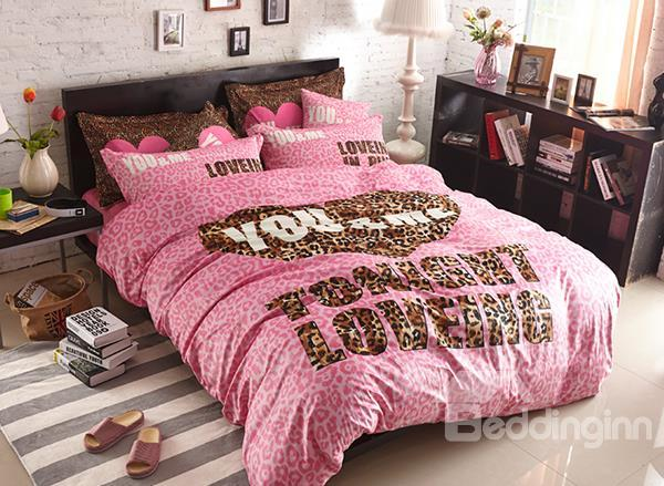 Sexy You And Me Leopord Pattern 4-Piece Coral Fleece Duvet Cover Sets