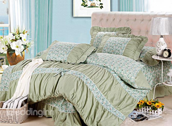 New Arrival Pastoral Floral With Lace Green 4 Piece Cotton Bedding Sets