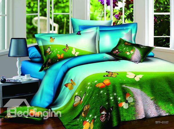 New Arrivals Romantic Colorful Butterfly With High Quality 4 Pieces Bedding Sets