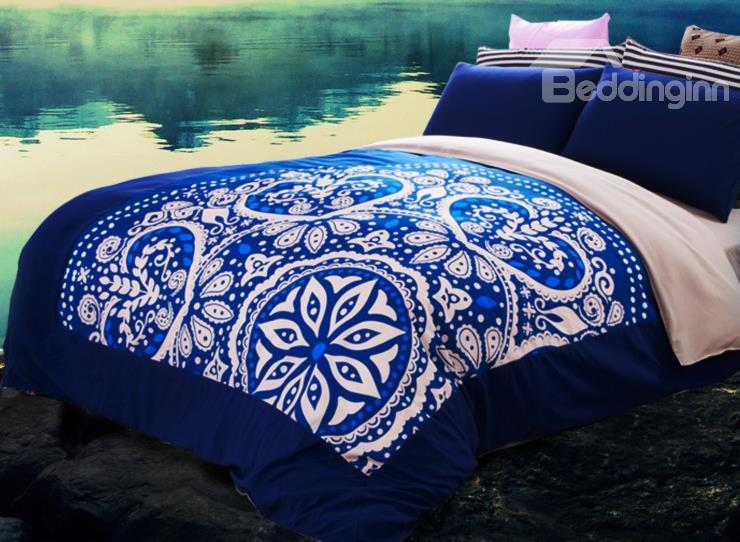 Classical Unique Style Floral Pattern 4-Piece Cotton Duvet Cover Sets
