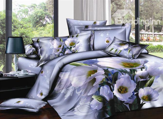 Elegant Dull Purple Printed 4 Piece Cotton Bedding Sets 10489309)