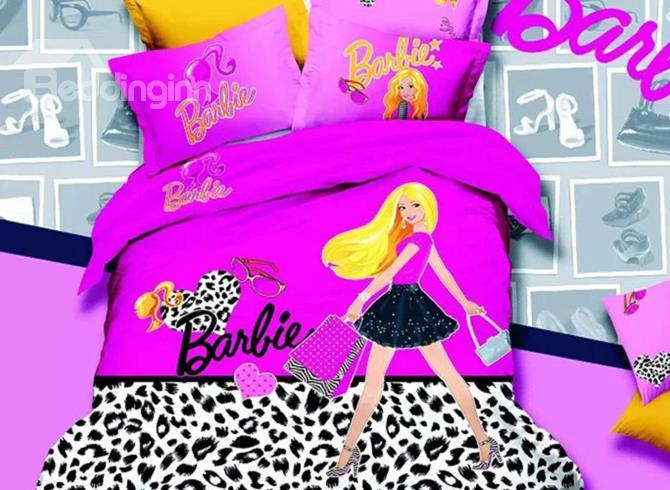 Fashion Shopping Girl With Leopard Background Print 4-Piece Duvet Cover Sets