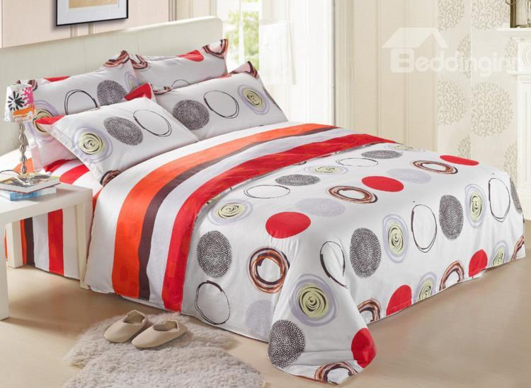 New Arrival 4 Piece Bright Stripe And Circles Bedding Sets