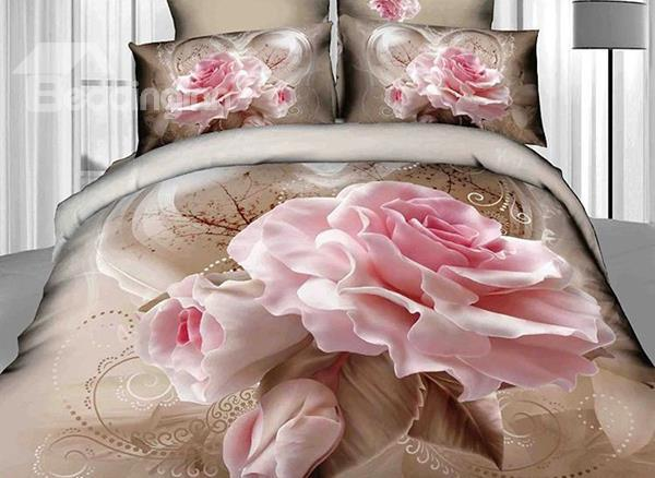 Vivid Blossoming Pink Rose Print 4-Piece Cotton Duvet Cover Sets