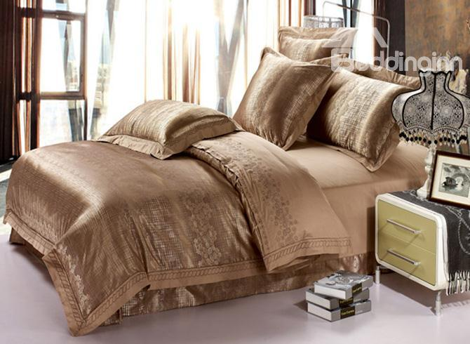Imperial Bright Grey 4 Piece Jacquard Satin Bedding Sets With Embroidery 10490295)