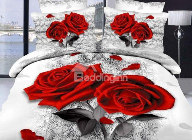 New Arrival Gorgeous Red Roses And Petals Print 4 Piece Bedding Sets