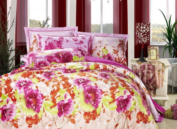 New Arrival Splendid Flower Print Comfortable Sandedcloth Material 4 Piece Bedding Sets