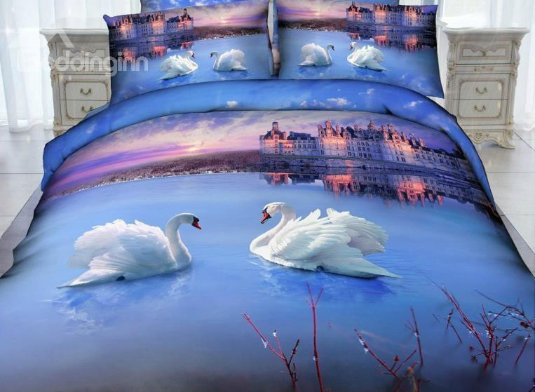 White Swan And Castle Print 4-Piece Cotton Duvet Cover Sets