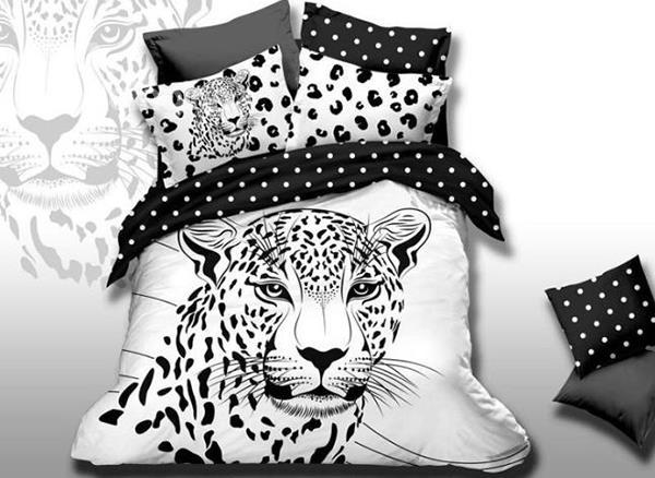 New Arrival Leopard Patterns Black And White Color 4 Piece Bedding Sets