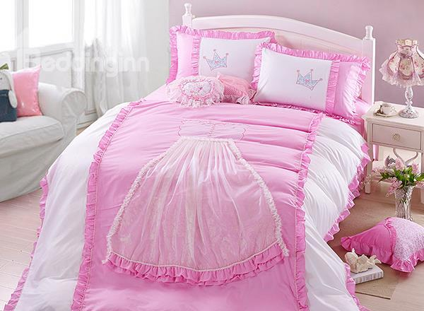 Sweet Pink Princess Dress Trim 4-Piece Cotton Duvet Cover Sets