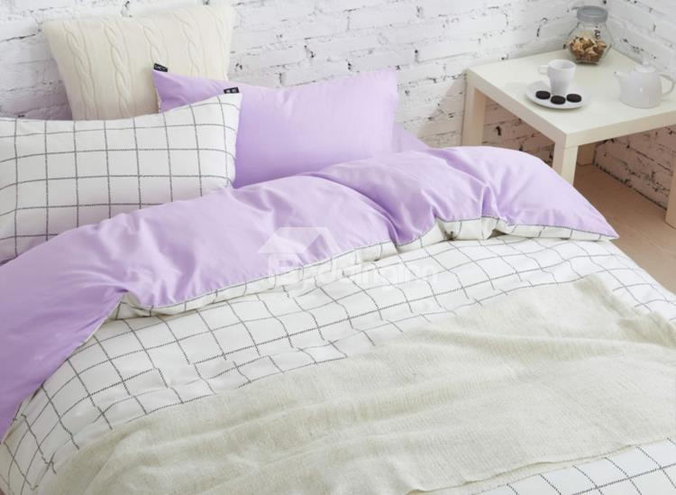 Minimalist White Grid Reversible 4-Piece Cotton Duvet Cover Sets