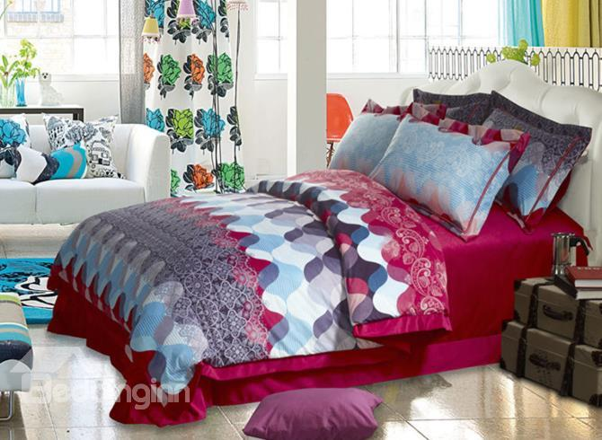 Fashion Waves Print Comfortable Sandedcloth Material 4 Piece Bedding Sets
