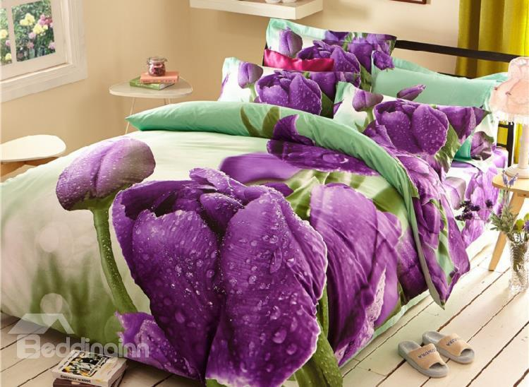 Amazing Purple Dewy Tulip Print 4-Piece 3d Duvet Cover Sets