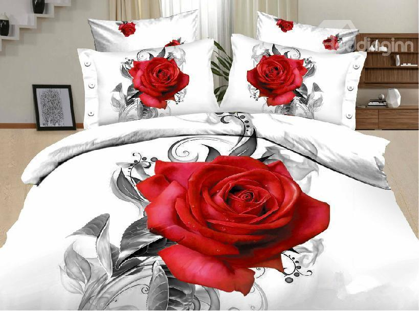New Arrival Active Printing Red Rose Painting 4 Piece Bedding Sets
