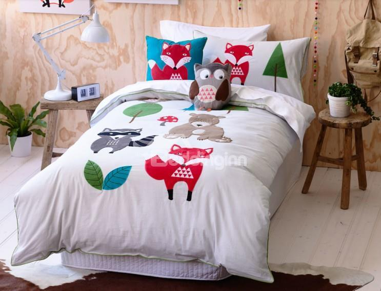 Childlike Red Fox And Grizzly Bear Trim 3-Piece Cotton Duvet Cover Sets