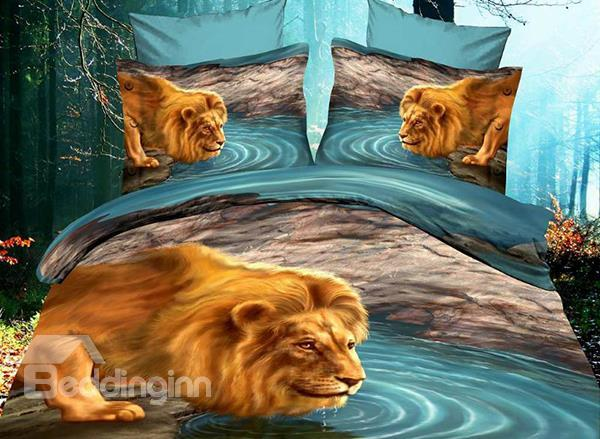 New Arrival 100%Cotton Vivid Lion Dabbling By The River Print 4 Piece Polyester Bedding Sets/Duvet Cover Sets