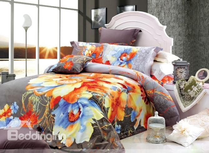 Well-Mannered Gray 4 Piece Modern Chinese Ink Duvet Cover Sets 10486312)