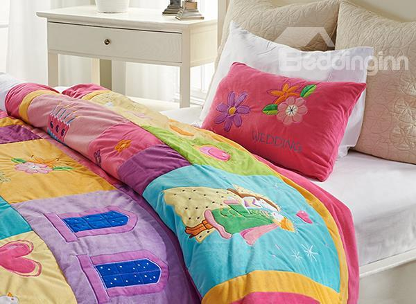 Prince And Princess Embroidery 2-Piece Micro Fiber Duvet Cover Sets