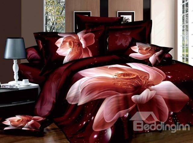 Big Lifelike 3d Water Lily Print 4 Piece 100%Cotton Duvet Cover Sets
